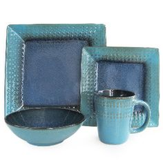 Jay Imports 16-Piece Cantabria Dinnerware Set in Blue