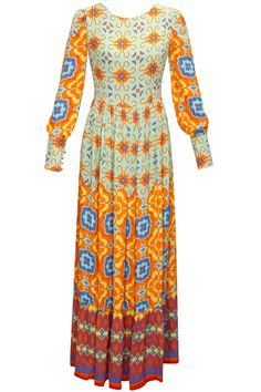 Mint and orange printed maxi dress available only at Pernia's Pop-Up Shop.