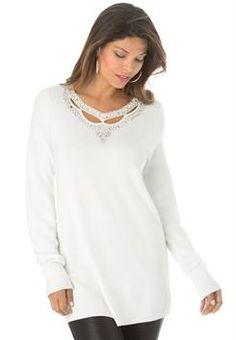 Plus Size Cutout Embellished Sweater