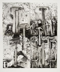 Jim Dine, With Aldo Behind Me, 2008, etching, drypoint and mechanical abrasion, 133.4 x 111.1 cm  Edition of 15; Courtesy Alan Cristea Gallery