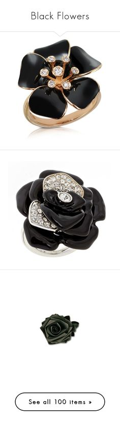 """""""Black Flowers"""" by lablanchenoire ❤ liked on Polyvore featuring jewelry, rings, accessories, gioielli, aneis, flower charms, 18k ring, flower ring, diamond rings and 18 karat gold ring"""