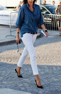 White skinny jeans with denim shirt