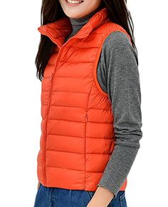 SYTX Womens Winter Ultra Light Packable Down Puffer Vest Outdoor Coats Jacket Orange M * Find out more about the great product at the image link. (This is an affiliate link)