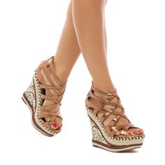'Goldie' by Scene - The Goldie platform complements a strappy upper with espadrille piping, a leopard-print wedge, and sparkling metallic accents.    ShoeDazzle