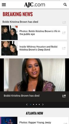 Bobbi Kristina Brown Dead: 6 months after Bobbi Kristina was found face down in her bathtub, just like her mother Whitney Houston was found dead 3 years ago, she has died. (July 26, 2015) Prayers go out to the Brown and Houston families.