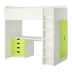 STUVA Agenc. lit mezz+4 tir/2 ptes - blanc/vert - IKEA. wow, j'adore le néon.
