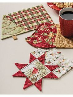 """Put those holiday scrap fabrics to use and create lots of seasonal mug rugs for your home and for gifts! Finished sizes: Christmas Star Mug Rug: 10 1/4"""" x 8"""" Christmas Tree Mug Rug: 12"""" x 8"""" Christmas Bell Mug Rug: 10 3/4&quo..."""