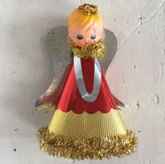 Vintage 50s 60s christmas tree topper angel #fairy doll #decoration #tinsel xmas,  View more on the LINK: 	http://www.zeppy.io/product/gb/2/172332201087/