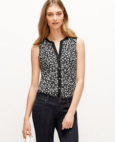 Image of Floral Sleeveless Button Down Shirt