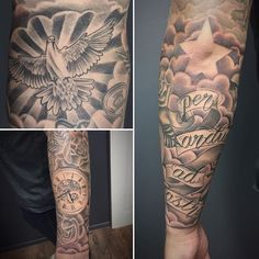 #tattoo finished #forearm #sleeve added #cloud everything else healed. #pocketwatch #dove