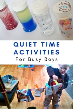 If you have busy and lively or spirited kids, you need quiet time more than anyone! These quiet time ideas are perfect for preschoolers who love to be busy and on the move. They are sure to engage even the busiest of kids! Activities To Do With Toddlers, Educational Activities For Preschoolers, Quiet Time Activities, Creative Activities For Kids, Motor Activities, Kindergarten Activities, Toddler Preschool, Fun Learning, Homeschooling
