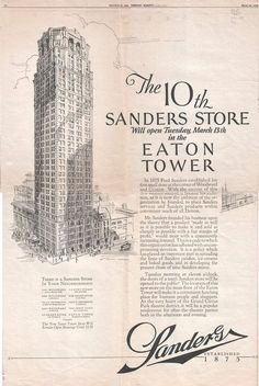 Ad for Sanders Store in Eaton Tower, Detroit, Michigan  - http://detroittraining.com/detroit-icons-renewed/