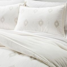 Embroidered Diamond Duvet Cover Set (King) Almond Cream - Nate Berkus™ : Target
