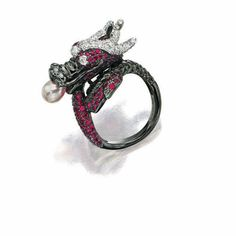 RUBY, DIAMOND AND CULTURED PEARL 'DRAGON' RING, LYDIA COURTEILLE