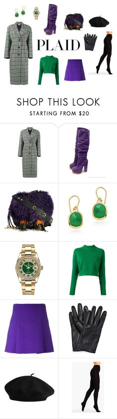 """Plaid coat"" by edith-a-giles ❤ liked on Polyvore featuring Natasha Zinko, Prada, Monica Vinader, Rolex, DKNY, Victoria, Victoria Beckham and Talbots"