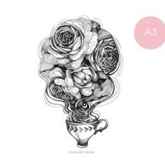 Rózsatea - A3 My Works, A3, Illustrations, Female, Illustration, Character Illustration, Illustrators, Drawings