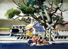 Horn Blowers, 1971, a California watercolor by Dong Kingman