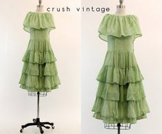 20s Cotton Dress Small / 1920s Tiered Skirt Dress by CrushVintage, $282.00