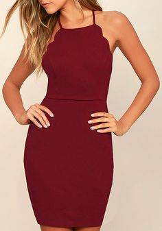 Spend the night dancing your heart out in the Heart's Content Wine Red Bodycon Dress! Medium-weight stretch knit shapes a princess-seamed bodice with scalloped detail that travels from the apron neckline all the way to the sultry, open back. Skinny straps cross at back above a bodycon skirt. #lovelulus