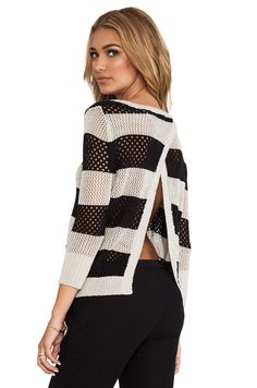 Central Park West Borneo Striped Pullover in Stone & Black $130