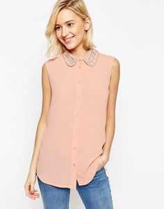 Image 1 of ASOS Sleeveless Embellished Collar Blouse
