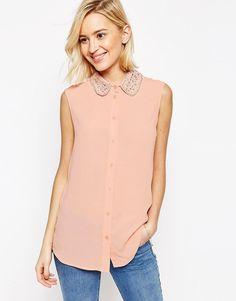 Image 1 ofASOS Sleeveless Embellished Collar Blouse