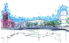 Richard Rogers RA: Inside Out exhibition opens on July 18th at Royal Academy of Arts. Find out who is the man behind the visionay designs of the Pompidou Centre in Paris and Lloyd's of London -- Image: Concept sketch for the National Assembly for Wales. Credit: Rogers Stirk Harbour + Partners.