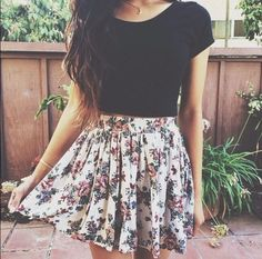 Black top with floral skirt