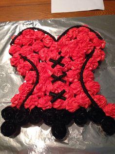 Corset Bachelorette Cupcake Cake