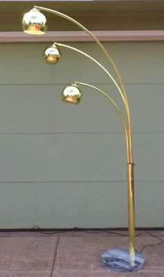 1970'S, Vintage, Arc Lamp, Floor Lamp, Spider Lamp, 3 Arm, Sofa, Sectional, Lamp, Mid Century Modern, Brass, Adjustable, Lighting