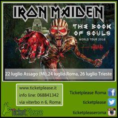 """Ticket """" IRON MAIDEN """" info line: 068841342 www.ticketplease.it mail: info@ticketplease.it La nostra sede: via Viterbo n.6, Roma. Spediamo in tutta Italia con Bartolini. Book Of Souls World Tour. Special guest per le date di Milano e Trieste: The Raven Age Le date: 22 luglio Assago (Mi), 24 luglio Roma, 26 luglio Trieste,   #tour #teatro #spettacolo #musica #live #italy @IronMaiden  #IronMaiden #ROCK #ROCKINROME #ROCKINROMA #METAL  #Roma #Trieste #Milano"""
