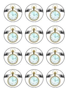 Twelve 2 Vintage Steampunk Pocket Watch Edible Image Cup Cake Toppers Decorations on Edible Wafer Rice Paper ^^ Huge price off! : Baking decorations