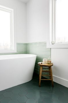 Modern Master bath that envokes Lake Michigan and Scandinavian Farmhouse style. A little bit of color in a minimal bathroom. See the full thing on The Fresh Exchange. Minimal Bathroom, Small Bathroom, Bathroom Ideas, Bathroom Tubs, Washroom, Bathroom Styling, Bathroom Organization, Organization Ideas, Bad Inspiration