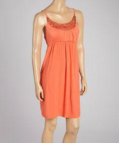 Love this Dark Coral Beaded Jayla Sleeveless Dress by Santiki on #zulily! #zulilyfinds