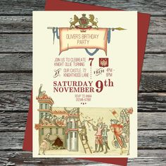 Medieval Invitation Template Knight Birthday Party INSTANT