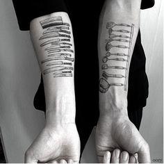 By Korean artist 'OOZY' - Tattoos of people's working tools surprisingly look cool