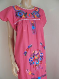 Mexican dress, hand embroidered dress, pink mexican dress by stilettoRANCH on Etsy