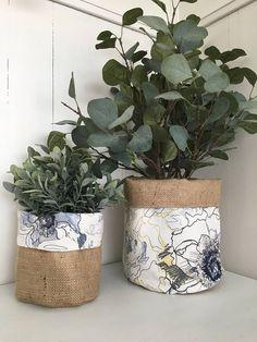 Denim Abstract Botanical Fl Hessian Planter Bag