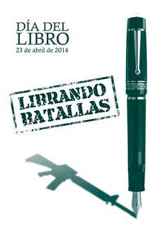 """""""Librando batallas"""" : folleto del día del libro 2014 del Servicio de Biblioteca de la Uex #libros #folletos #día_dell_libro"""