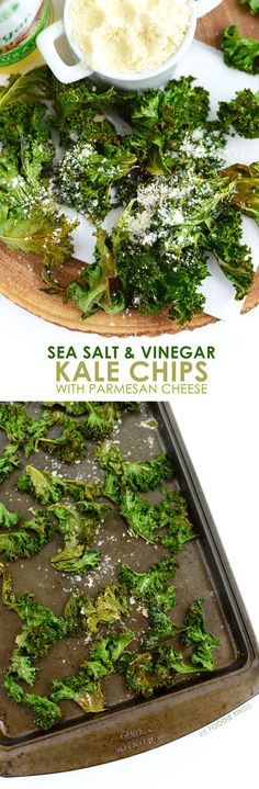 Sea Salt and Vinegar Kale Chips - Fit Foodie Finds - Love the crunch, but not the calories that comes with potato chips? Make these sea salt and vinegar kale chips with a hint of parmesan cheese for the most delicious and healthy snack ever! Vegetable Dishes, Vegetable Recipes, Vegetarian Recipes, Healthy Recipes, Healthy Breakfasts, Tasty Meals, Kale Recipes, Yummy Recipes, Recipies