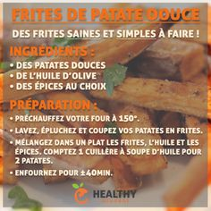 Frites de patates douces Nutrition, Veggies, Gluten, Beef, Vegan, Healthy, Recipes, Food, French Language