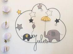 Prénom Fil de Fer Eléphants étoiles ballon parapluie