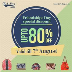 Buy them before time runs out Upto 80% off, valid till 7th August #friendshipday #gifts #bags #offers