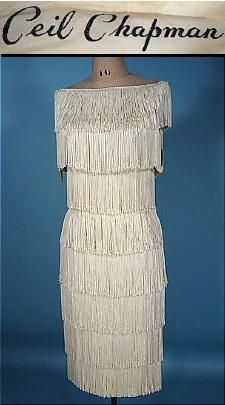 "c. 1960's CEIL CHAPMAN Fully Silk Fringed Tiered ""Flapper"" Dress"
