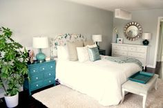 Master Bedroom. Love this color pallate. Maybe add a little orange