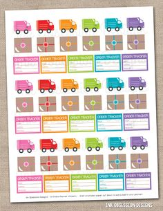 Delivery Trucks & Packages Printable Planner Sticker Instant Download PDF