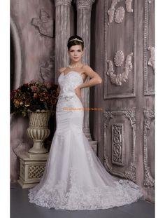 2014 Luxuriöse Brautmode aus Satin und Softnetz Meerjungfrau