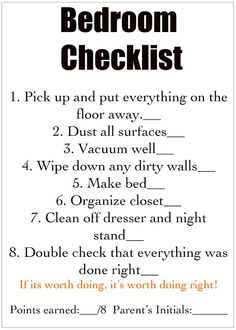 Chore check list...supposed to be for kids, but I can benefit :)