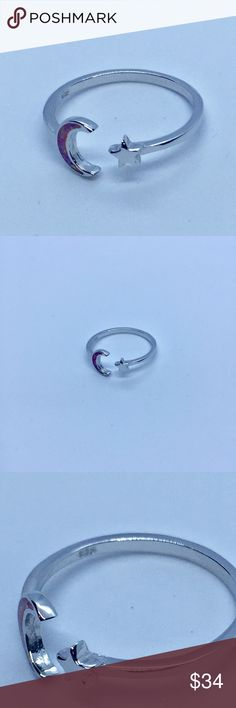 🆕 925 Sterling Silver Lab Opal Moon and Star Ring Super cute, dainty 925 stamped sterling silver moon and star ring with a pink lab opal moon. The face height is 8 mm and the finish is high polish, rhodium plated. Photos are zoomed in to show details. Please ask questions! Sterling silver ships free, either add to a Bundle and wait for me to send an offer with free shipping or send me an offer with at least $7 off asking price. Don't see your size? Comment below and I can special order…