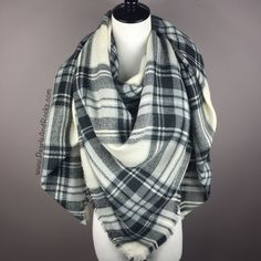 """- soft & warm acrylic material - generous size, approx. 55"""" x 55"""" - white, black and gray tartan - versatile, can be worn in various ways - 20 different patterns available"""
